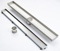 "Wholesale pop up drains - DIYHD 23-3 5""-39-2 5"" Tile insert linear shower drain long floor drain stainless steel brushed shower drain channel"