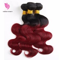 Pièces D'extension De Cheveux Rouges Pas Cher-3 pièces Ombre brésilien Body Wave Hair Weave Bundles 1B / Burgundy Ombre Extension de cheveux humains 99J Red Remy Hair