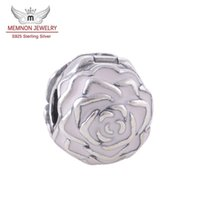 Memnon Jewery Pink Esmalte Rose Garden Flower Lock Clip Core Stopper Beads charm Accesorios Diy 925 Sterling Silver Flower Charms KT081-N