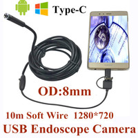 Wholesale Endoscope Ip66 Waterproof - 8mm 3 in 1 USB Endoscope Camera 10M Soft Wire IP66 Waterproof Snake Tube Inspection Android OTG Type-C USB Borescope Camera