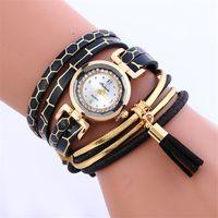 Wholesale Leather Skin Lady - Snake skin bands bracelet leather bracelets watch Fashion women wave wrap watches ladies Tassel pendant diamond rope dress quartz wristwatch