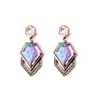 Wholesale Rhombus Earrings - Fashion Wholesale Costume Jewelry Charm Colorful Rhombus Gemstone Big Drop Dangle Earrings Gift for Women Pendientes