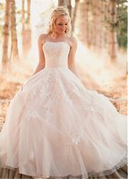 Wholesale Wedding Gown China Online - Marvelous Tulle Strapless Neckline A-line Wedding Dresses With Beaded Ruched Waistline Champagne Bridal Gowns online shop china
