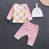 Chapeaux Imprimés Léopard Rose Pas Cher-INS XMas 3pcs Baby Deer Print Long Sleeve Tops Pantalons Hat Outfit Set Infant Toddlers Girls Tissu Cute Dotted Printed Deer Pink