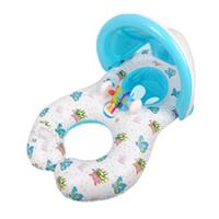 bagues flottantes flottantes achat en gros de-Siège gonflable de mère et bébé d'enfants d'anneau de cercle de flotteur d'ombre avec la piscine de parasol