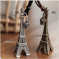 Wholesale Eiffel Tower Sweaters - Paris Tower Necklace Tower Eiffel Necklace Sweater Chain Tower Coin Pendant Necklaces Leather Necklace Women Jewelry DHL