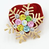 Wholesale Colorful Bridal Bouquets - fashion gold plated mixed crystals pretty snowflake women brooch colorful crystals wedding bridal bouquet lady party broaches pins