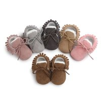 Wholesale Fur Boots Newborn - Wholesale- New ROMIRUS Fashion Winter Keep Warm PU Suede Solid fur Newborn Baby First Walkers Shoes Boots Infant Moccasins Soft Moccs Shoe