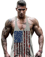 Wholesale Hot Sale Men s t shirt American Flag Design Stringer Singlets Cotton Gyms Tank Tops Muscular Fitness Bodybuilding Tank Top Skull Vest