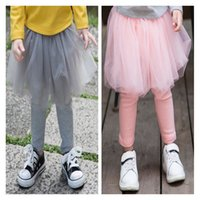 Wholesale Gauze Tights - INS 2017 Autumn Girls Candy Color Gauze Cotton Skirt Pants Girls Leggings Tights Girl Baby Pants Kids Pantskirt Bottoms Free Shipping 145