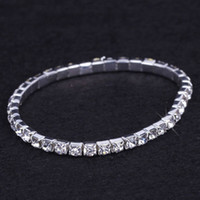 Wholesale womens bridal sets - 24 pieces Lot Wedding Bridal Jewelry Elastic Crystal Rhinestone Stretch Silver Womens Bracelet Bangle Wholesale Wedding Accessories