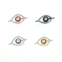Wholesale Evil Eye Gold Charms - 4 Colors Newest ECO-Friendly Evil Eye Shape Micro Pave Charm, CZ Connector, ICSP053, 22.9*11.9mm