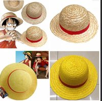 Wholesale Luffy One Piece Cap - One Piece Luffy Anime Cosplay Straw Boater Beach Hat Cap for Halloween