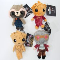 """Wholesale Galaxy Keychain - Hot Sale 10pcs Lot 4"""" 10cm Guardians of The Galaxy Groot Keychain Plush Stuffed Animals Toys For Child Gifts"""