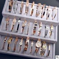 Wholesale Stellux Austrian Crystals - Heart Charm Elegant Bangle Bracelet For Women Rose Gold Color Stainless Steel Stellux Austrian Crystal With Roman Letter