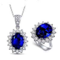Fine Jewelry Sterling Silver 925 Com Natural Tanzanite Blue Topaz Jewelry Set Of Pendant Ring For Women