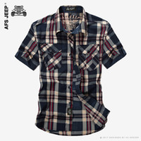 Wholesale Man Shirts Double Pockets - AFS JEEP Men Brand Cotton Plaid Casual Shirt High Quality Summer Lattice Fashion Loose Short Sleeve Double Pockets Dress Shirts