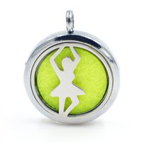Wholesale Essentials Girls - Dancing girl Perfume Aromatherapy essential oil Diffuser Locket 30mm Floating locket pendant (Felt Pads randomly freely) XX125 as gifts