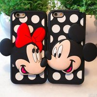 Wholesale Cover Silicon For Mobile - Soft Silicon Cute Cartoon 3D Minnie Mickey Case For iPhone 8 7 6 6S Plus Mobile Phone Back Cover Opp Bag