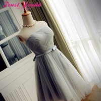 Wholesale light blue short strapless dress resale online - Real Sample pink gray tulle new Fashionable sexy short cocktail dresses customer made pleat prom dresses party dress