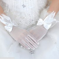 Wholesale White Winter Gloves Wholesale - 10 pairs of new bride lace gloves White short gloves Women Bride wedding gloves Winter accessories