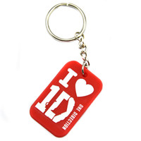 Wholesale One Direction Dog Tags - Hot Sell 1PC I Love 1D One Direction Silicone Dog Tag Keychain Great For Advertising Gift