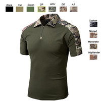 uniforme del ejército camo al por mayor-Al aire libre Woodland Caza Tiro EE. UU. Batalla Vestido Uniforme Táctico BDU Ejército Combate Ropa Camo Camuflaje Camiseta SO05-005