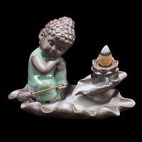 Wholesale Lotus Ceramics - Wholesale Ceramic Tathagata Pottery Lotus Base Backflow Incense Burner Home Decor Air Fresheners Stick Incense Holder