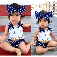 Wholesale Clothes Baby Anchor - Wholesale- Cute Baby Girls Clothes Sets Anchors Bow Tops + Polka Dot Briefs + Head band 3pcs Sleeveless Outfits Set Baby Girl 0-24 Monthes