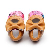 Wholesale Wholesale Mary Janes - Wholesale- Kids PU Leather Footwear Floral Mary Janes Big Bow Baby Girl Princess Moccasins Soft Moccs First Walkers Shoes