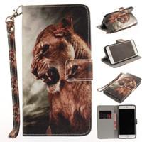 подставка для iphone оптовых-Новый животных Тигр Собака кожаный чехол для iphone 7 7 плюс 5 5S 6 6 S стенд флип бумажник чехол сумка крышка корпуса
