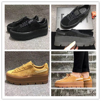 Wholesale End Cut - High Quality Rihanna Creepers Fenty Velvet Creeper Trainers Burgundy Red Black Grey High end Suede Creeper Sneakers 36-44
