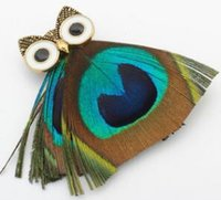 Wholesale Scarves Korea - The owl brooch South Korea feather color restoring ancient ways is a corsage Chain scarves buckle