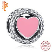BELAWANG Fit Pandora Charm BraceletNecklaces Jóias Fazendo 925 Sterling Silver Clear CZ Charms Pink Enamel Heart Shape Beads Wholesale