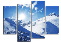 Wholesale oil painting mountains landscape - Unframed 4 Pcs Panel HD Blue Sky Snow-capped Mountains Photo Print on Canvas decorative painting Oil Painting Pictures Art Wall Art Picture