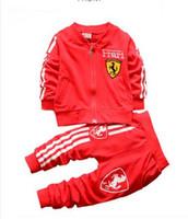 Wholesale Horse Sweatshirts - Boys Brand Clothing Sets Kids Print Horse Tracksuit+Pants 2pcs Children's Cotton Coat Sport Football Sweatshirt Baby Clothes Set