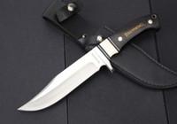 cuchillos de caza de cuchilla fija para dorar al por mayor-NUEVA Browning Bowie Cuchillo de Hoja Fija Completa Tang Ebony Wood Tactical Camping Supervivencia Caza Cuchillo de bolsillo Militar EDC Tool Xmas Collection