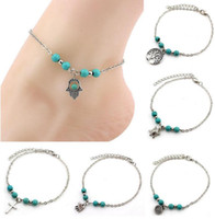 Wholesale Bohemian Anklets For Women - 6 Styles Bohemian Turquoise Anklets Women Beach Foot Chains Cross Tree Turtles Conch Fatima's Hand Anklet For Ladies Fashion Jewelry