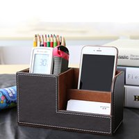 Wooden and Leather organizer desk - Multifunctional Leather Office Desk Organizer Desktop Stationery Storage Box Collection Business Card Pen Pencil Mobile Phone Holder