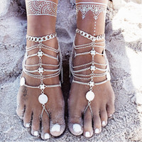 Wholesale Silver Anklets Women Barefoot Sandals - Barefoot Sandals Stretch Anklet Chain with Toe Ring Slave Anklets Chain Retaile Sandbeach Wedding Bridal Bridesmaid Foot Jewelry