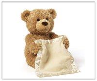 Wholesale Cute Teddy Bears Gifts - Peek a Boo Teddy Bear Play Hide And Seek Lovely Cartoon Stuffed Teddy Bear Kids Birthday Gift 30cm Cute Music Bear Plush Toy A01