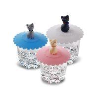 Wholesale Kawaii Dust Cap - Cute Cat Silicone Glass Cup Cover Coffee Mug Suction Seal Lid Cap Silicone Airtight Anti-dust Kawaii Home Accessories Gift ZA2914
