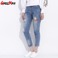 Womens Ripped Jeans mit Stickerei Sommer 2017 Damen Straight Cotton Denim Casual Hosen Pantalones Vaqueros Mujer GAREMAY 2610