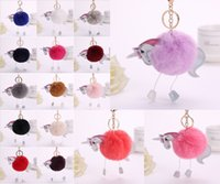 Wholesale fluffy unicorn plush for sale - Group buy Cute Fluffy Unicorn Keychain Imitation Rex Rabbit Fur Ball Key Chain Bag Women Key Ring Accessories Styles Free DHL D174Q