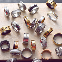 Wholesale Ring Size 22 - DHL FREE mix styles size 16-22 men's titanium healthy rings fashion metal alloy ring crystal stainless steel rings European styles