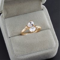 rings for bride Australia - Hotsale Bride Ring 18K Yellow Gold Plated Big AAA Clear CZ Adjustable Open Ring for Girls Women for Wedding Party JR0457