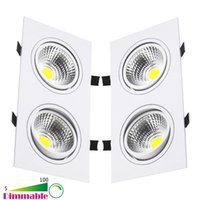 Wholesale Double Downlights - New 10W 14W 18W 20W 24W Dimmable Double Heads COB LED Ceiling Lights Recessed LED Downlights AC 85-265V