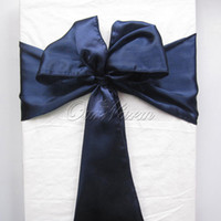 Wholesale 1Piece Navy Blue quot x108 quot Satin Chair Cover Sash for Wedding Event Party Supply Decoration Banquet Products