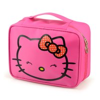 Wholesale character kitty - Wholesale- Girl's Hello Kitty Cosmetic Bag Cute Travel Makeup Organizer Case Beautician Beauty Suitcase Accessories Supplies Products
