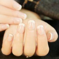 Wholesale elegant nails resale online - 24 Elegant French Manicure D fake false full nails tips Sticker with Glue